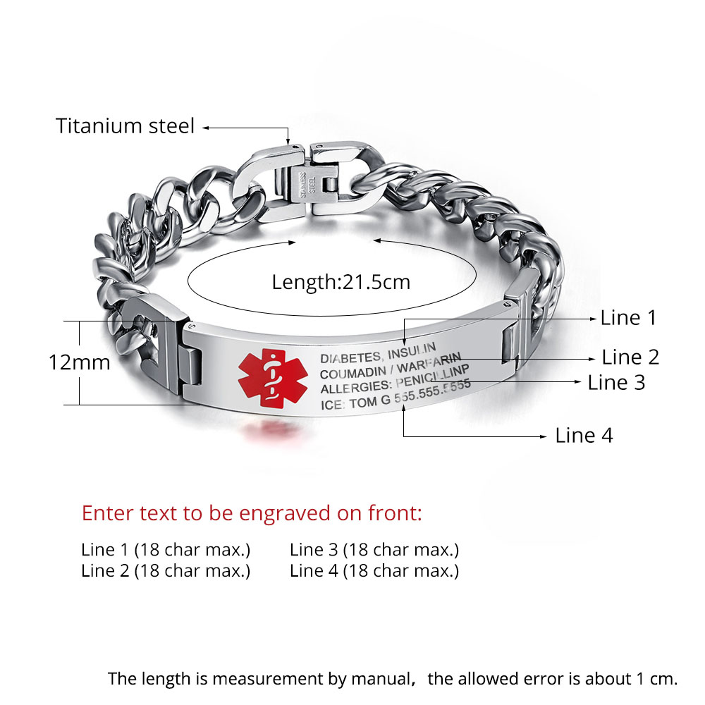 Titanium Steel Curved Glue Red Bracelet?Medical Alert Bracelet? - BA101353
