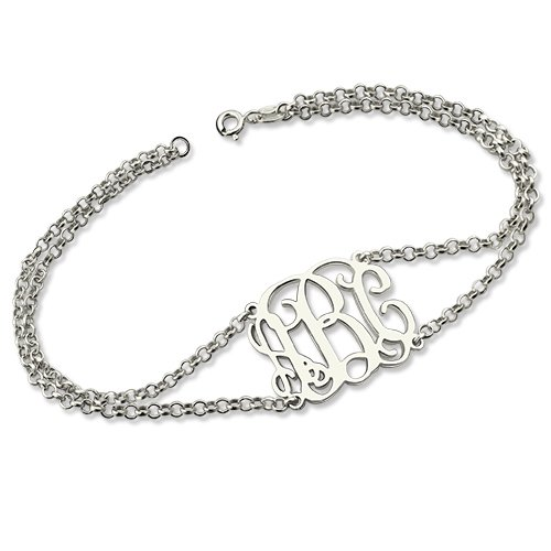 Personalized 925 Sterling Silver Monogram Bracelet - BA101434