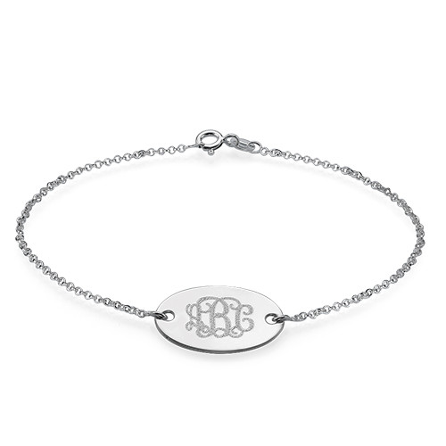 Personalized 925 Sterling Silver Oval Monogram Bracelet - arbdmdgfi