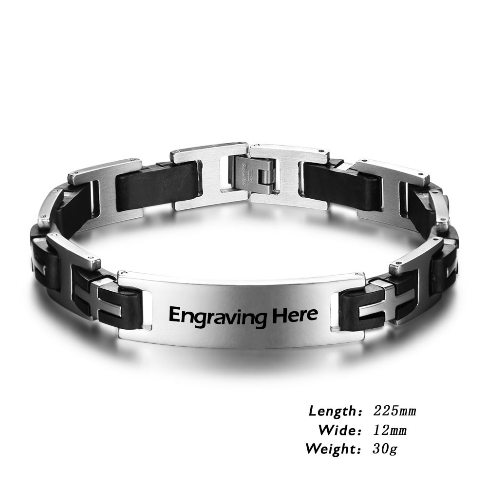 Engraved Personalized Stainless Steel Bracelet - BA101588