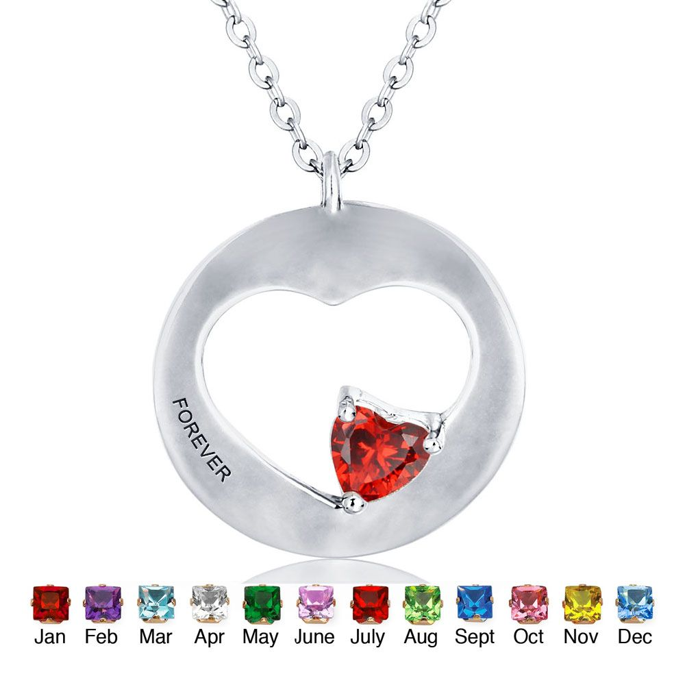 personalized birthstone heart-shaped 925 Sterling silver Necklace with chain #cenjsjlss