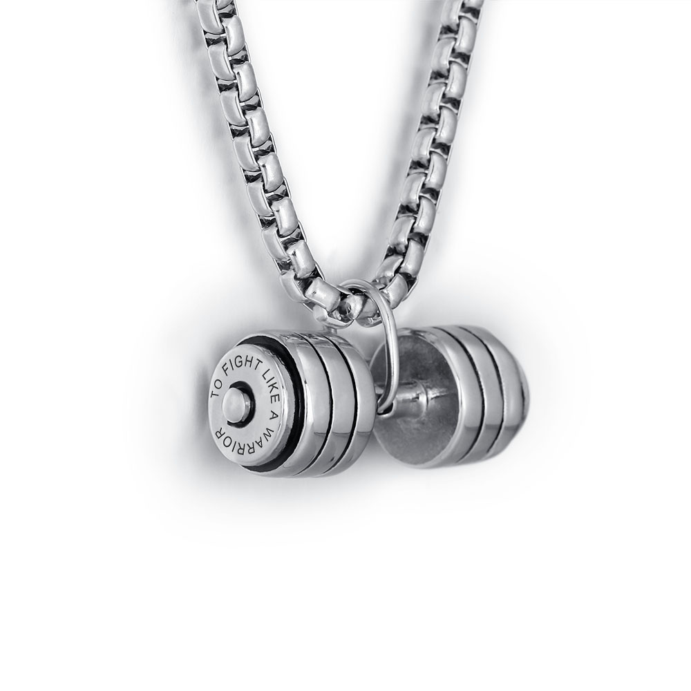 Personalized Stainless steel dumbbell necklace - cenjsjlsr