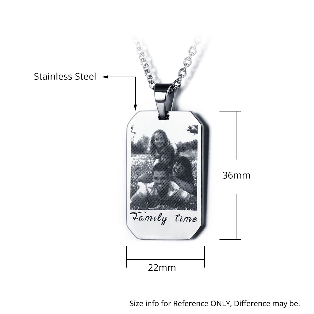 Engraved Stainless Steel Photo Necklace