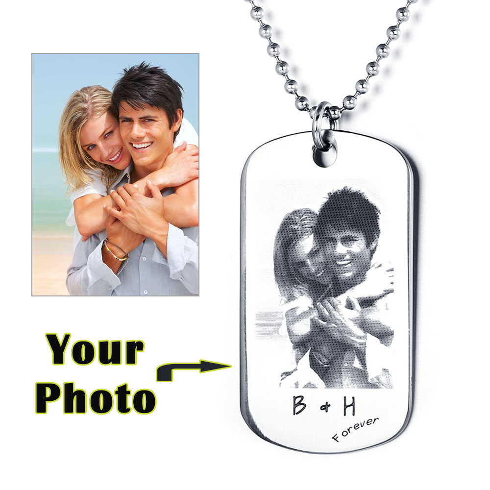 Engraved Stainless Steel Photo Necklace - cenjsjlkk