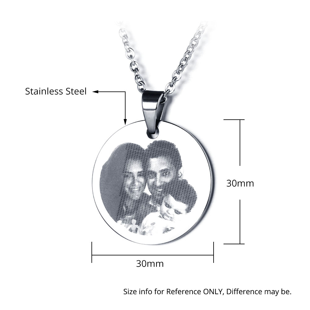 Engraved Stainless Steel Photo Necklace - NE101324