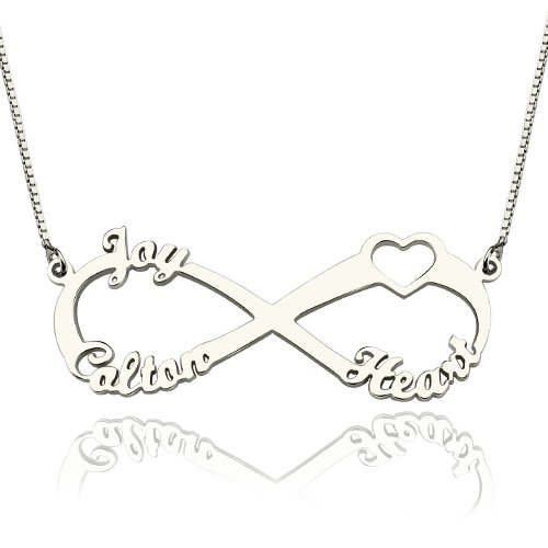 Personalized 925 Sterling Silver Infinity-Shaped English Name With Heart Necklace - cenjsjlpj