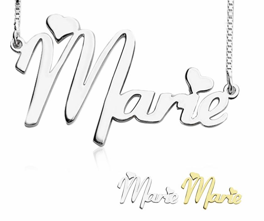 Name Necklace with Box Chain (with 2 Heart) # cenjsjlpm
