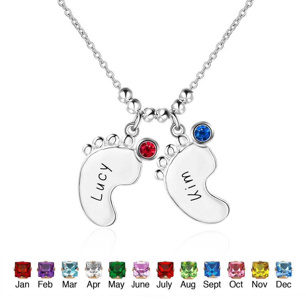 Personalized 925 Sterling Silver Birthstone Little Feet Artistic Name Necklace - cenjsjmjm