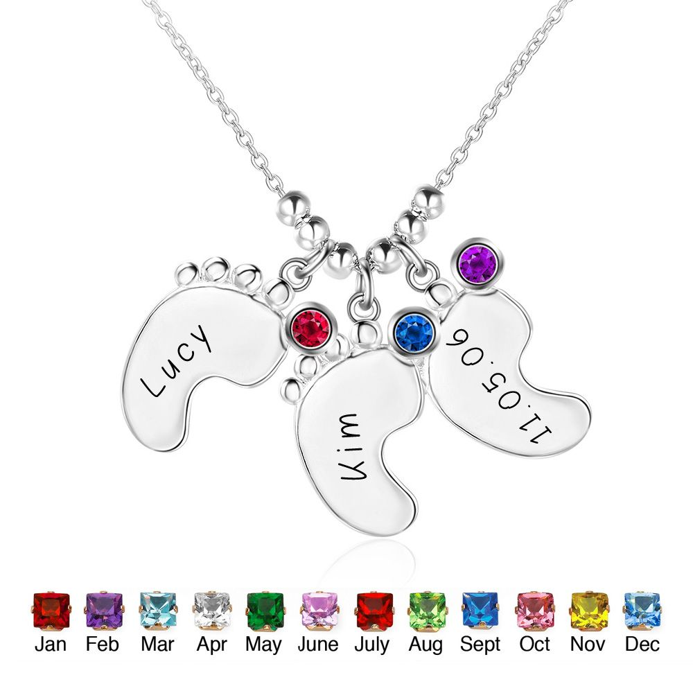 Personalized 925 Sterling Silver Birthstone Little Feet Artistic Name Necklace - cenjsjmjn