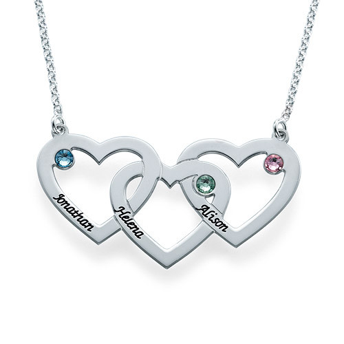 Personalised Sterling silver Intertwined Hearts Necklace with Birthstones  - cenjsjmjo