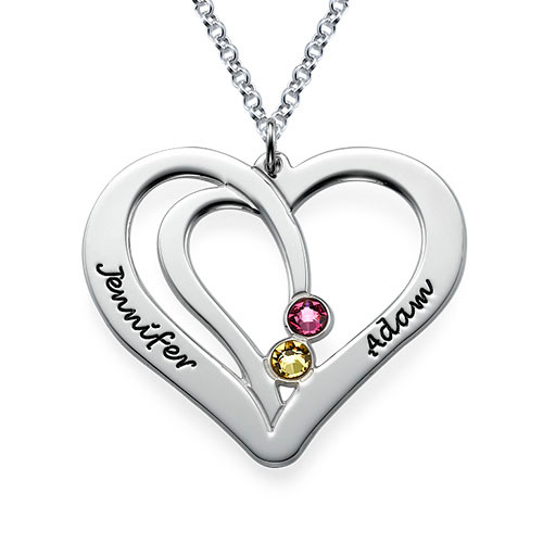Personalised Sterling silver Engraved Couples Birthstone Necklace - cenjsjmjp