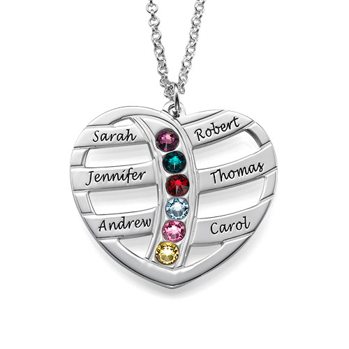 Personalised Sterling silver Engraved Heart Necklace with Birthstones - cenjsjmjq