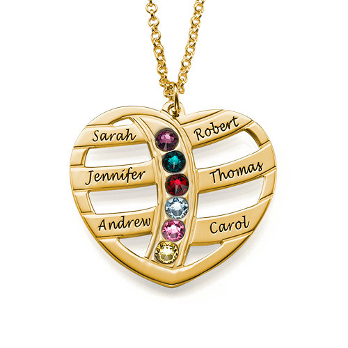 Personalized 925 Sterling silver Engraved Gold Heart Necklace with Birthstones - cenjsjmjr