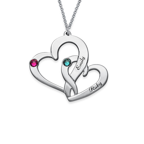 Personalised Sterling silver Engraved Two Heart With Birthstone Necklace - NE101424