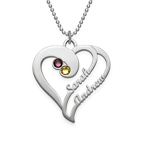 Personalised Sterling silver Two Hearts Forever One Birthstone Necklace - cenjsjmkr