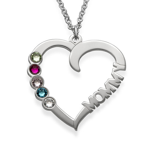 Personalised Sterling silver Birthstone Heart Necklace - NE101431