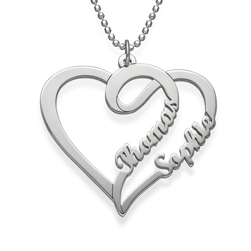 Personalized 925 Sterling silver Couple Heart Necklace - cenjsjmll