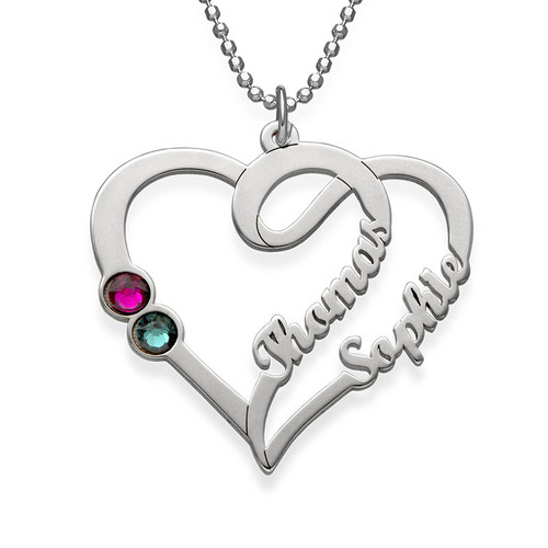 Personalised Sterling silver Engraved Couples Birthstone Necklace #NE101435