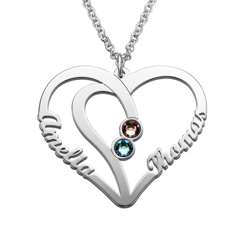 Personalised Sterling silver Engraved Couples Birthstone Necklace - cenjsjmlo