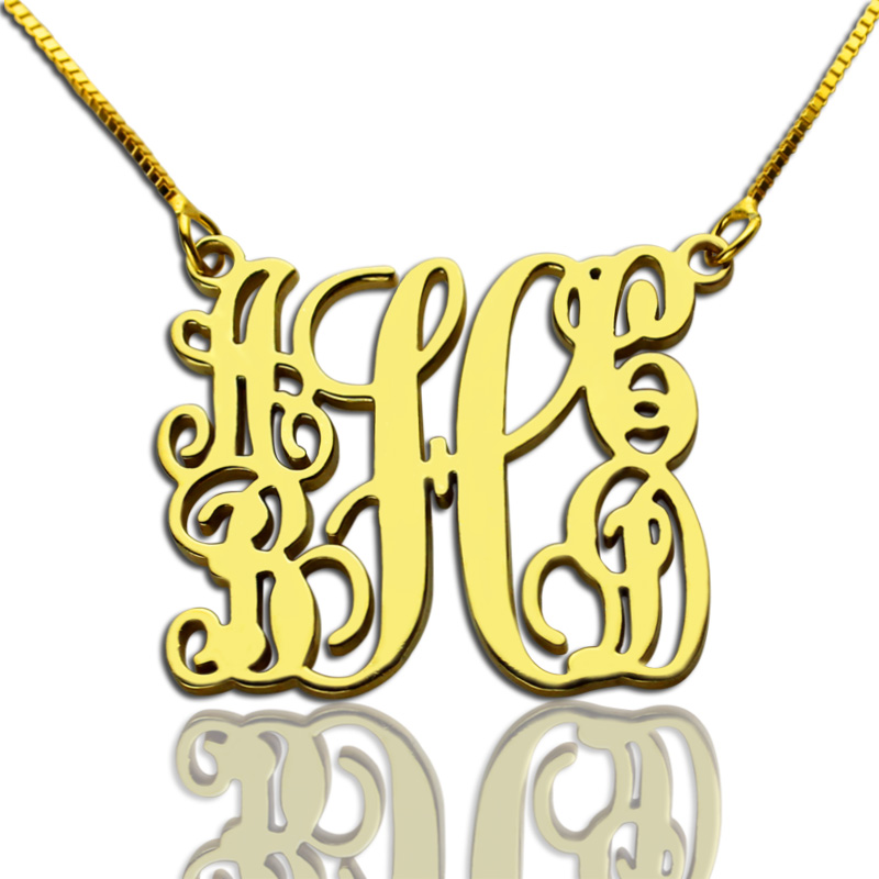 Personalized 925 Sterling Silver Monogram Necklace - cenjsjmlr