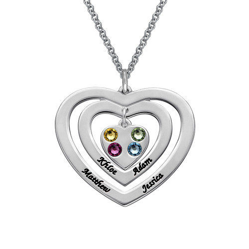 Personalised Sterling silver Engraved Heart Necklace with Birthstones - cebjsjmms