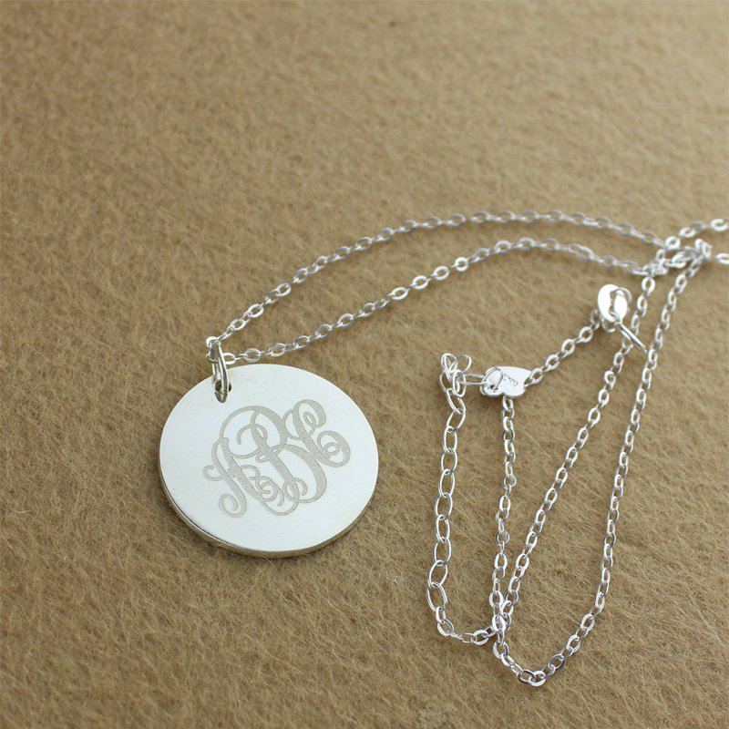 Personalized 925 Sterling Silver Necklace Round 3 Letter Combination - cenjsjmmk