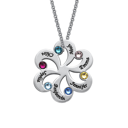 Personalised Sterling silver Birthstone Family Necklace - cenjsjmml