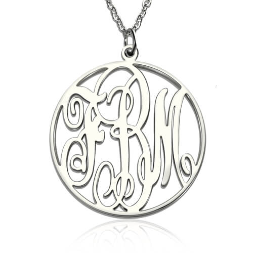 Personalized 925 Sterling Silver Necklace Round 3 Letter Combinations - cenjsjmmq