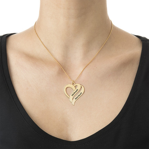 Personalized 925 Sterling silver Gold Plated Two Hearts Forever One Necklace - cenjsjmns