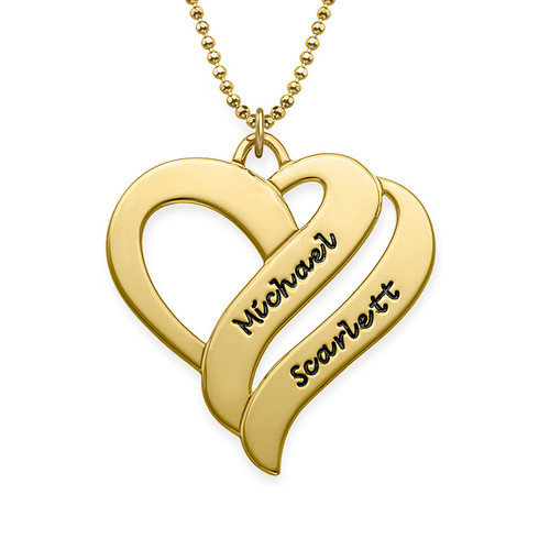 Personalized 925 Sterling silver Gold Plated Two Hearts Forever One Necklace - NE101450