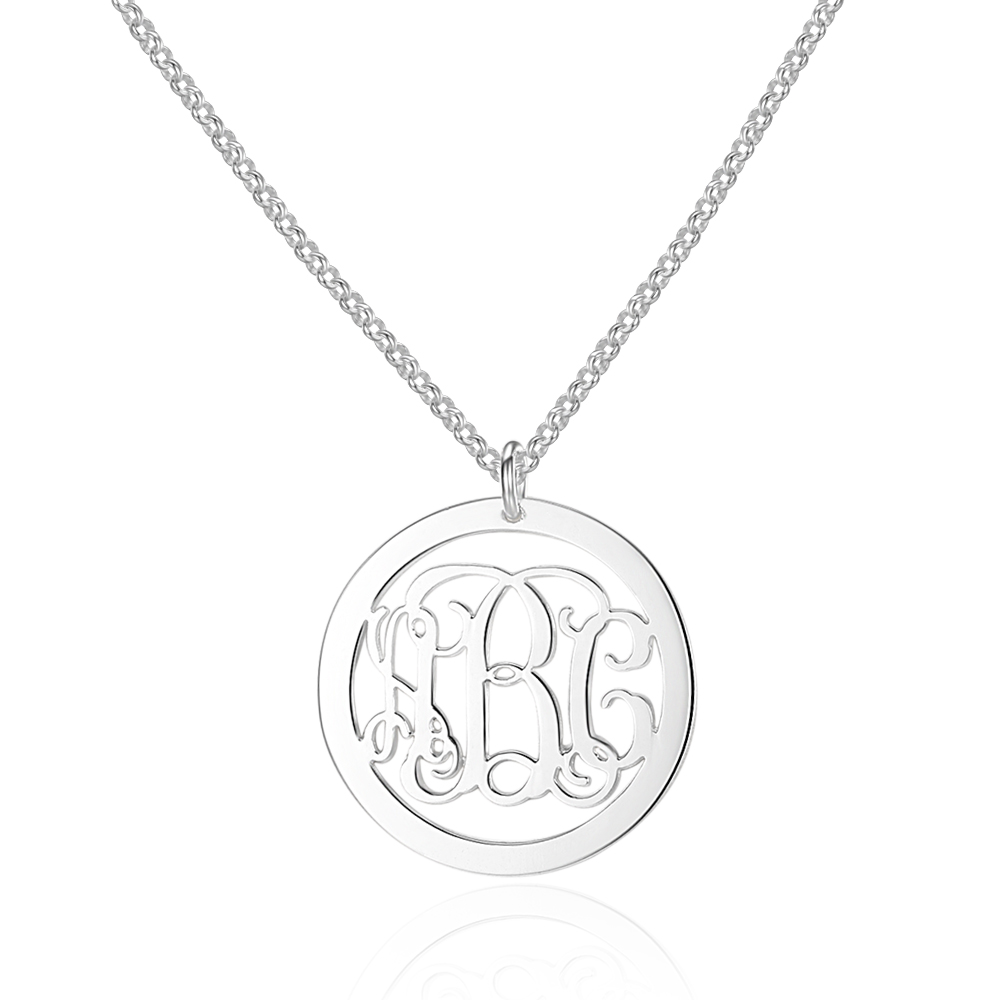 Personalized 925 Sterling Silver Monogram Necklace - cenjsjnnr