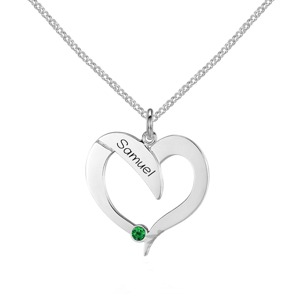 Personalized 925 Sterling Silver Heart-Shaped Necklace#with 45CM Chain#cenjsjnoq