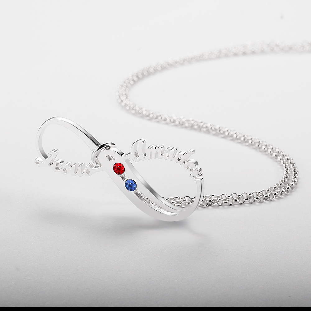 Personalized 925 Sterling Silver Infinity-Shaped English Name Necklace - cenjsjnqo