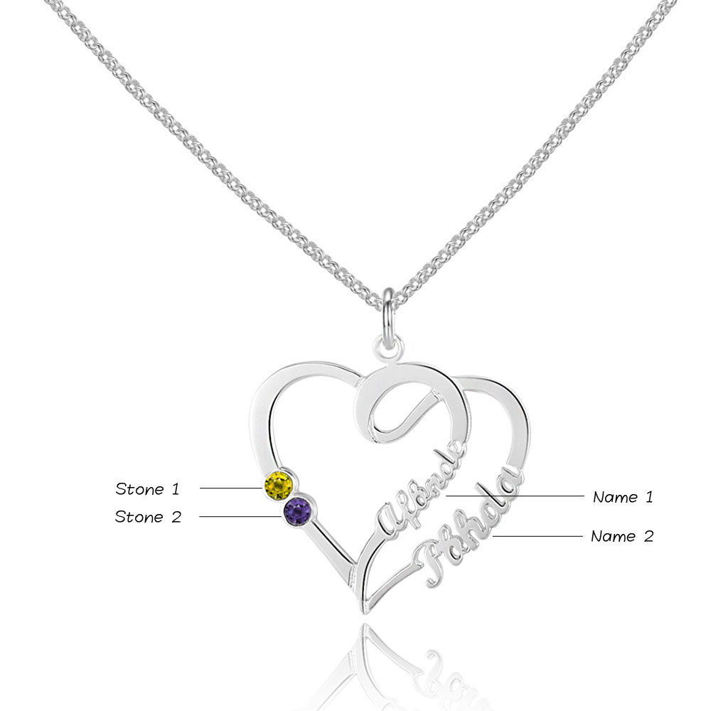 Personalized 925 Sterling Silver Heart-Shaped Necklace - cenjsjnqr