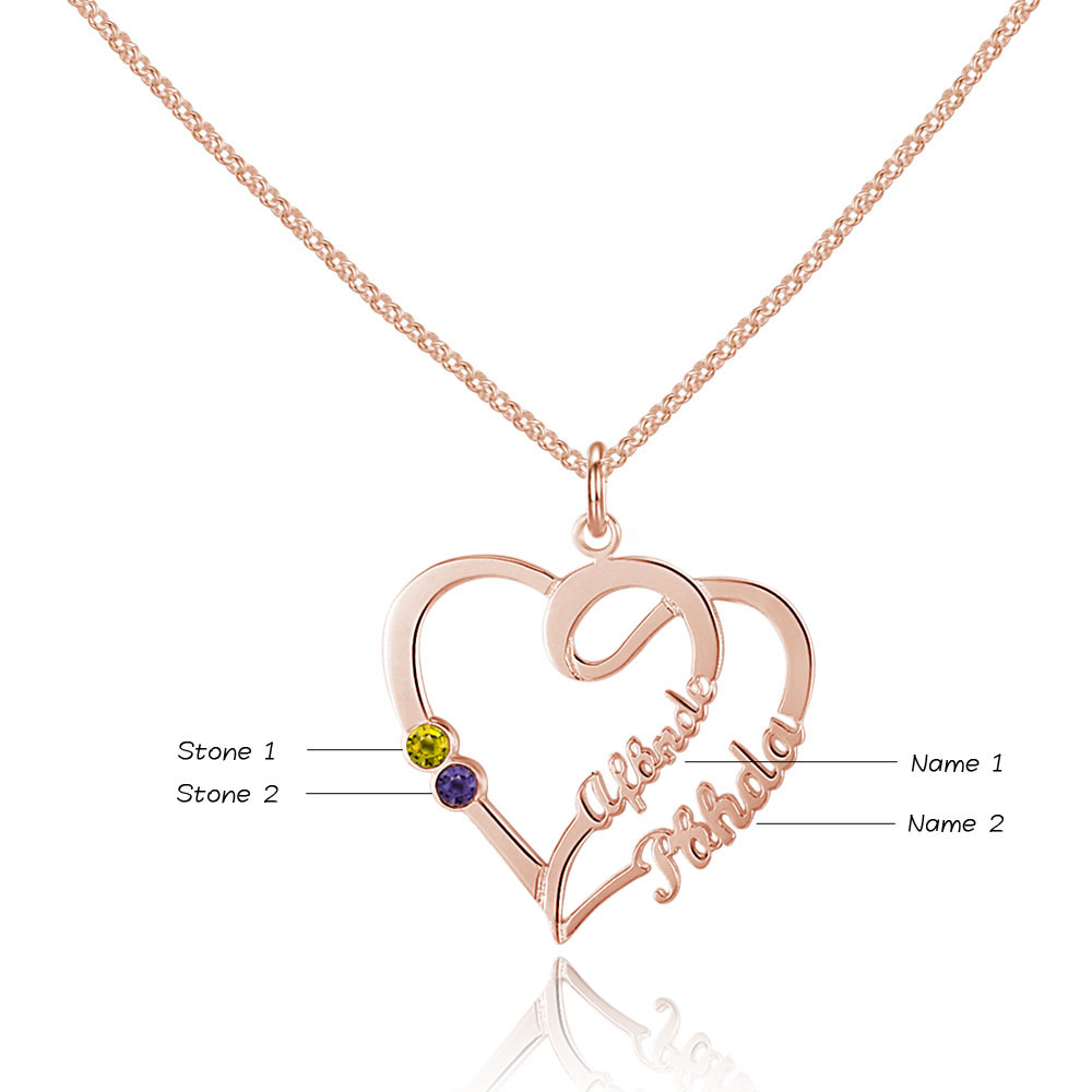 Personalized 925 Sterling Silver Heart-Shaped Necklace - cenjsjnrj