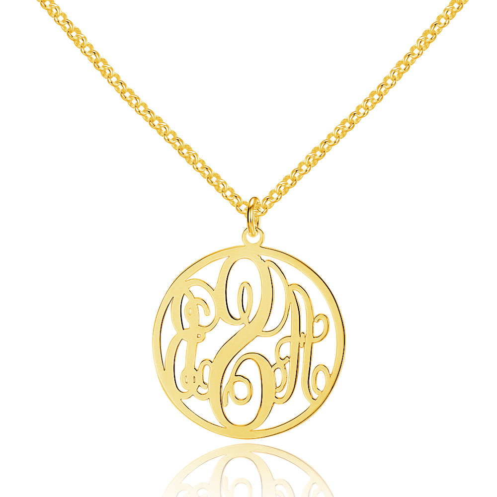 Personalized 925 Sterling Silver Monogram Necklace - cenjsjnrl