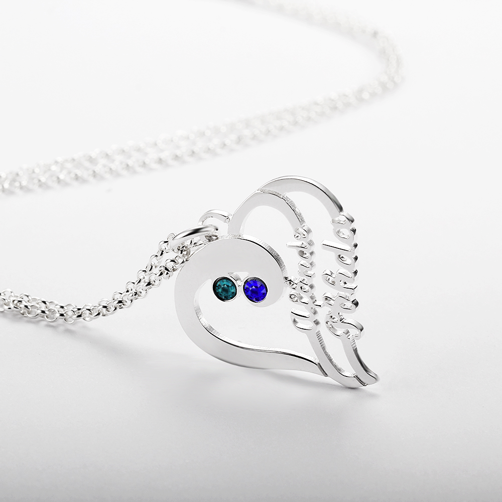 Personalized 925 Sterling Silver Heart-Shaped Necklace - cenjsjnrn