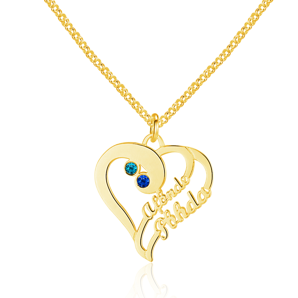 Personalized 925 Sterling Silver Heart-Shaped Necklace - cenjsjnro