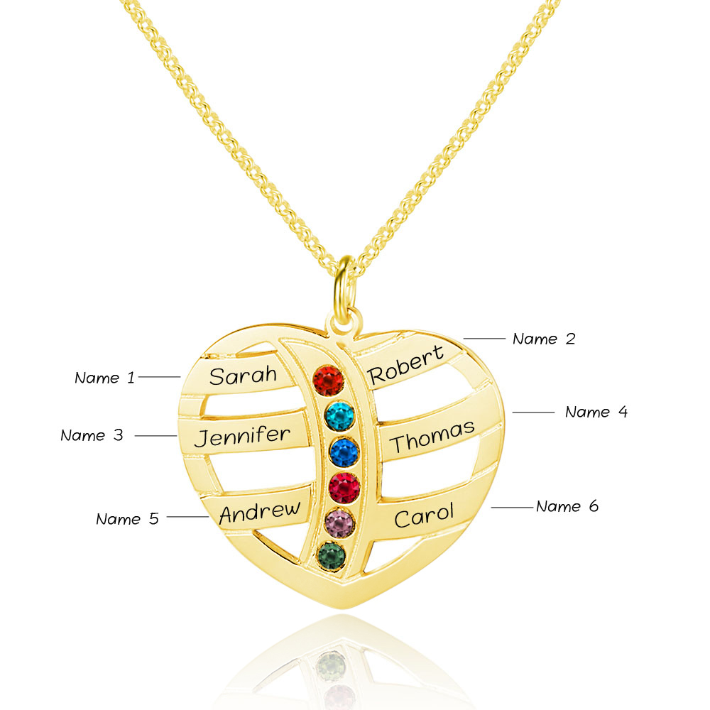 Personalized 925 Sterling Silver Heart-Shaped Necklace - cenjsjnrr