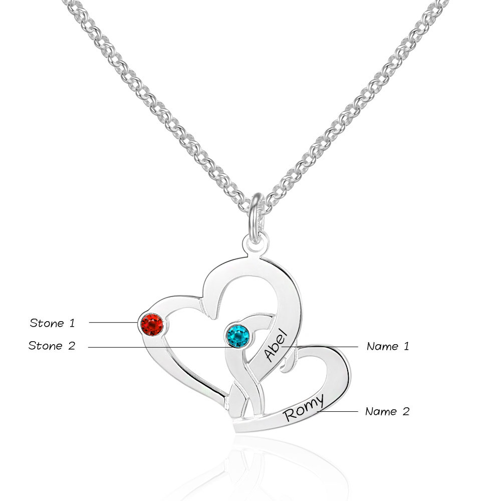 ba570eaafe Personalized 925 Sterling Silver Heart-Shaped Necklace - cenjsjosj