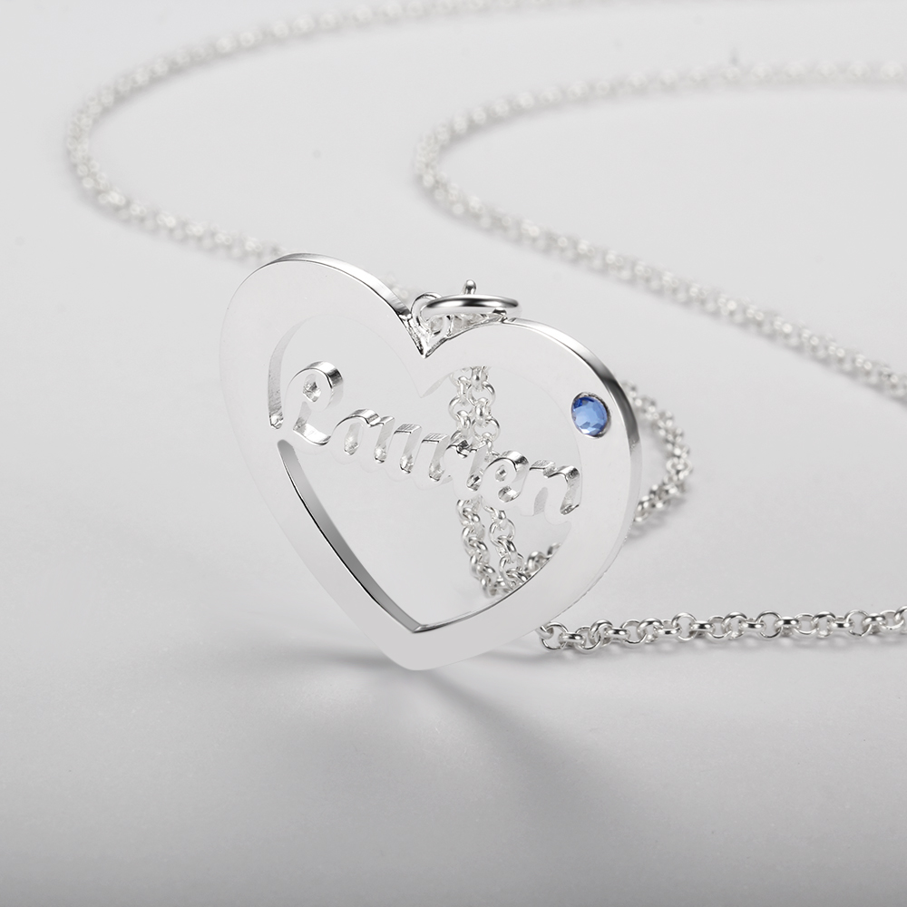 Personalized 925 Sterling Silver Heart-Shaped Necklace - cenjsjosm