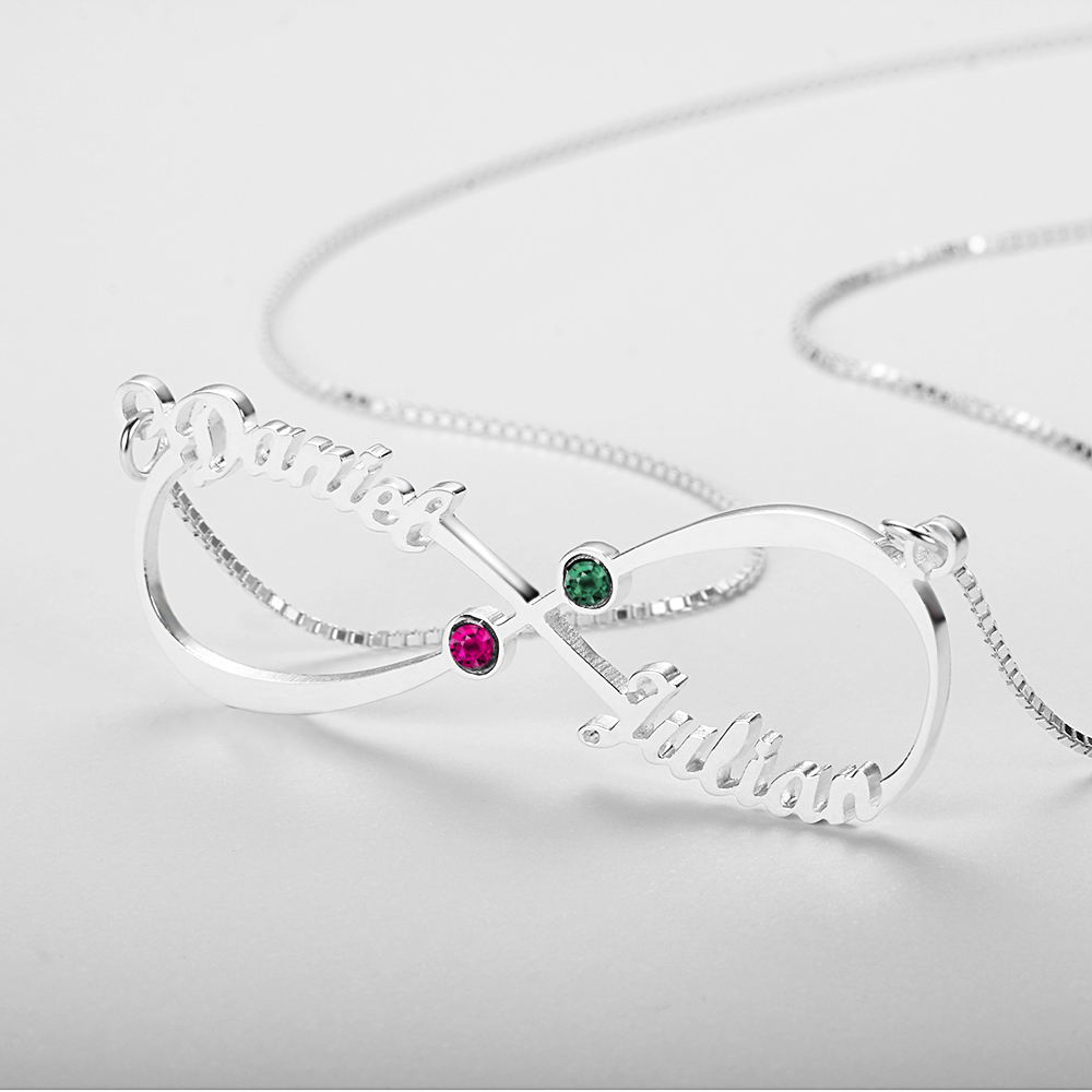 Personalized 925 Sterling Silver Infinity-Shaped English Name And Birthstone Necklace - cenjsjolp