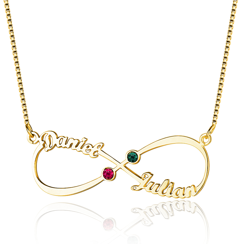 Personalized 925 Sterling Silver 8-Shaped English Name And Birthstone Necklace - cenjsjolq