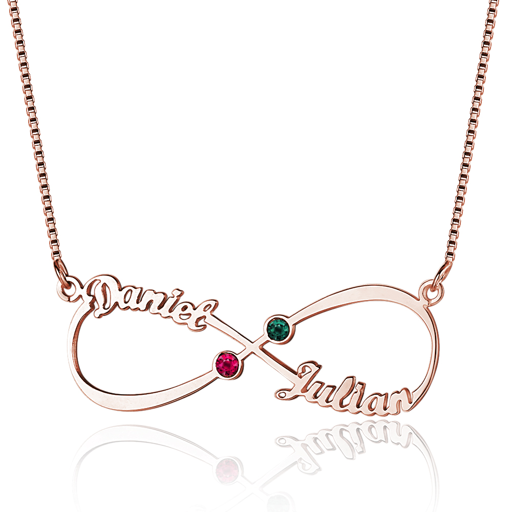Personalized 925 Sterling Silver Infinity-Shaped English Name And Birthstone Necklace - cenjsjolr