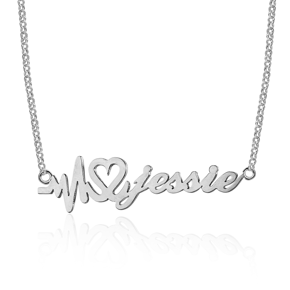 Heartbeat Name Necklace with Box Chain #NE101733