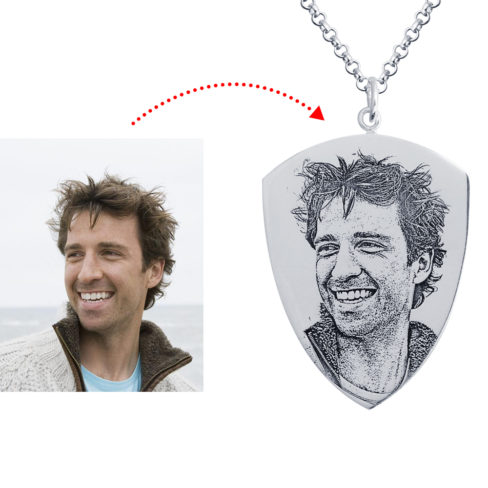 Personalized 925 Sterling Silver Photo Dog Tag Necklace - cenjsjppq
