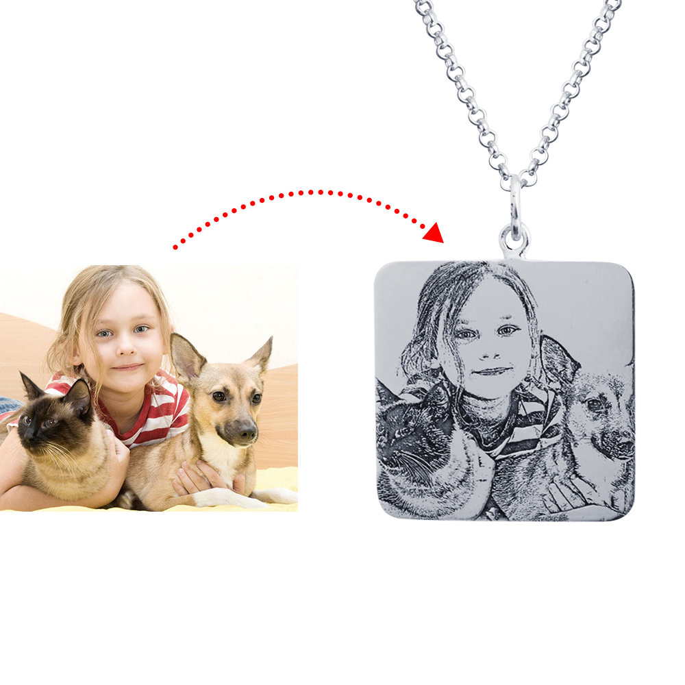 Personalized 925 Sterling Silver Photo Dog Tag Necklace - cenjsjppr
