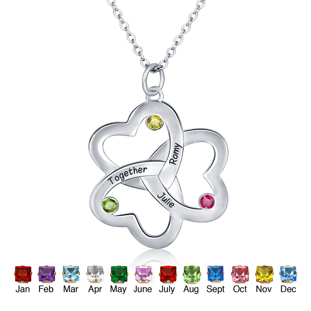 Personalised Three Heart 925 Sterling Silver Family Necklace - NE101785