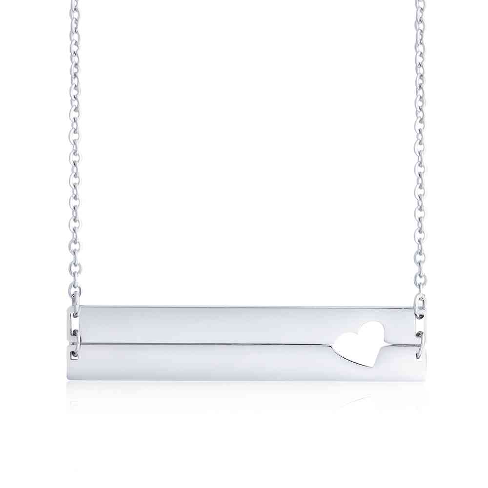 Personalized Stainless Steel Nameplate Bar Necklace - cenjsjqso