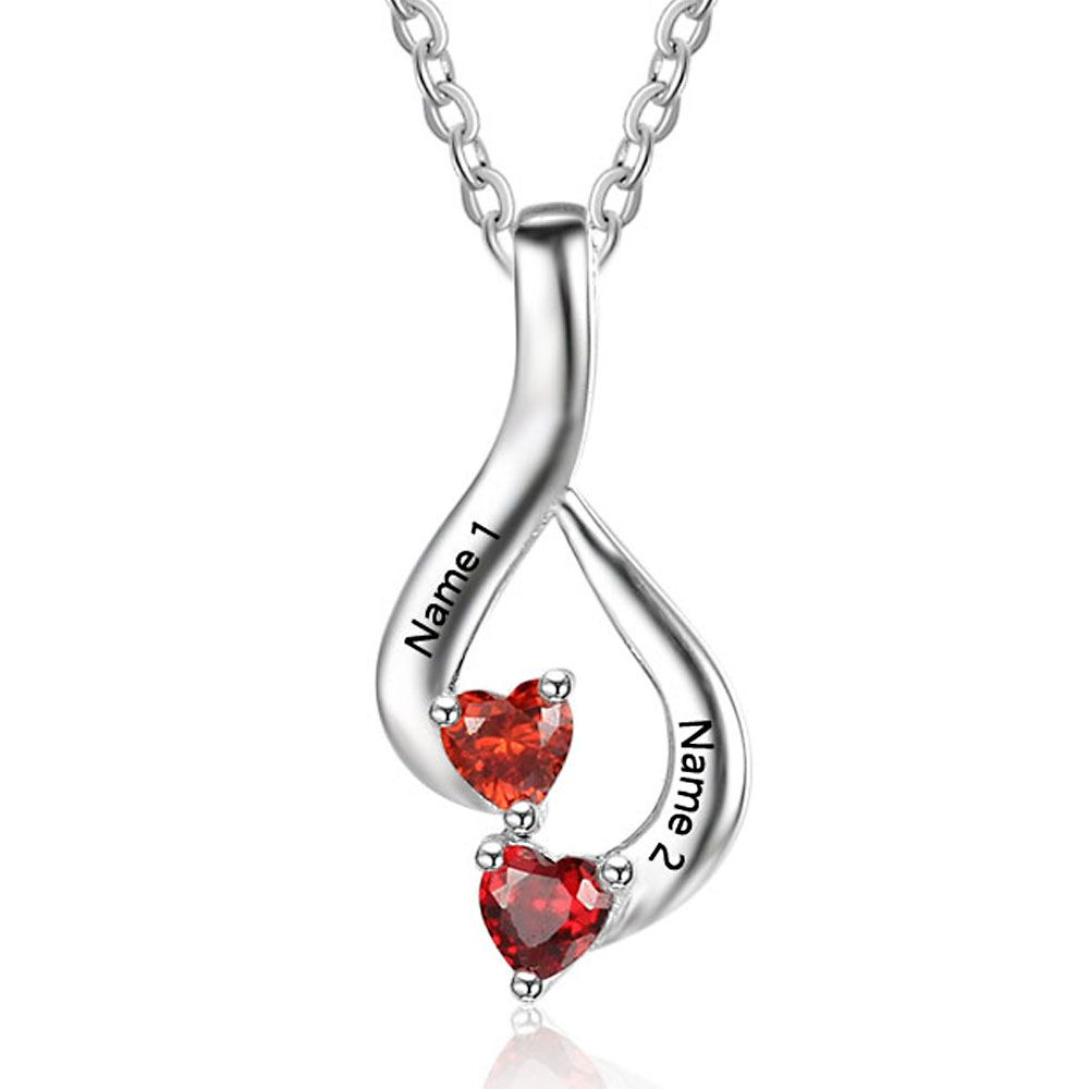 Personalized Birthstone Silver Necklace - NE101869